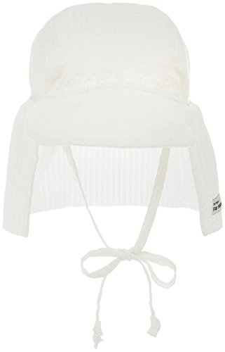 Flap Happy Baby Upf 50+ Flap Hat With Ties, Vanilla Stripe Seersucker, X-Large