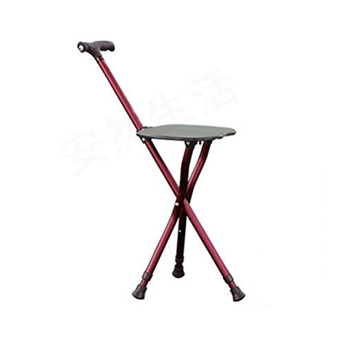 RUIRUI Adjustable Folding Walking Cane Chair Stool Massage Walking Stick with Seat Portable Fishing Rest Stool with for Elder , red