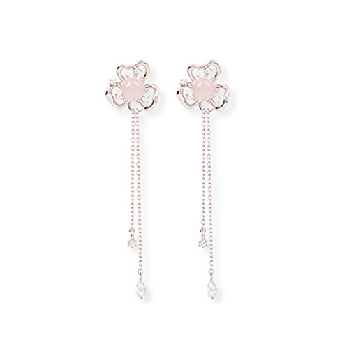 - WINGBLING Women White Iris Dangle Earings with Rose Crystal, Swarovski Pearl, Gold Plated 2 Pairs (Silver)