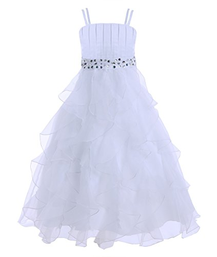 iiniim Girl's Organza Princess Party Pageant Wedding Prom Gowns Flower Girl Dress White 14 ()