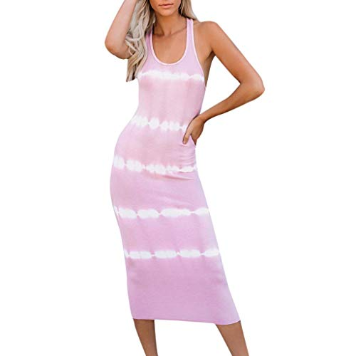 Bella Terry Robe - NEARTIME Summer Casual Dress for Girls, Ladies Sexy O-Neck Sleeveless Skirts Loose Striped Cami Tank Slim Long Dress