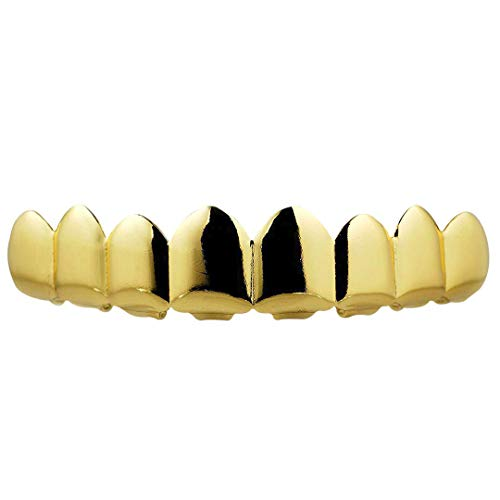 NIV'S BLING - 18K Gold Plated Stainless Steel Grillz - 8 Tooth Gold Teeth Hip Hop Dental Grill - 8 Top, 6 Bottom Set -