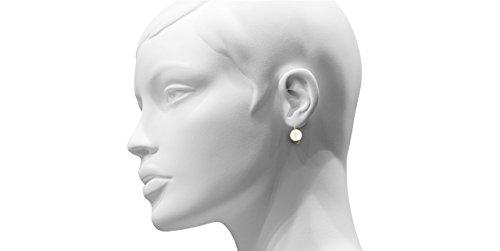 Melissa McArthur Boucles d'oreilles percées perle et argent 925 vermeil, 4.6g