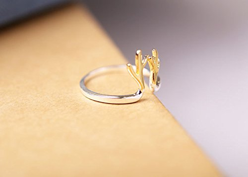 (Generic 925_Pure_ silver Rings_ women girl cute _elk_antlers_gold-plated_split_single_quit_genuine_Korean_style_of new_ silver jewelry _)