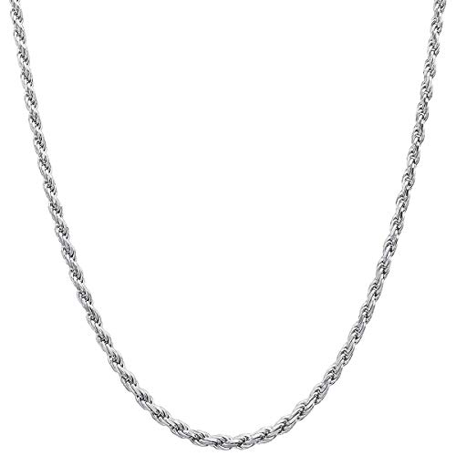 925 Sterling Silver Italian Rope Chain 1.5MM-3.5MM For Women & Men 16-36 Inch