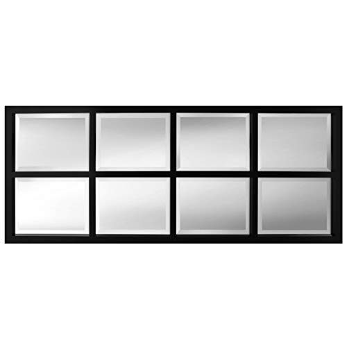 Kate and Laurel Stryker 8-Pane Windowpane Framed Wall Accent Mirror, Black ()