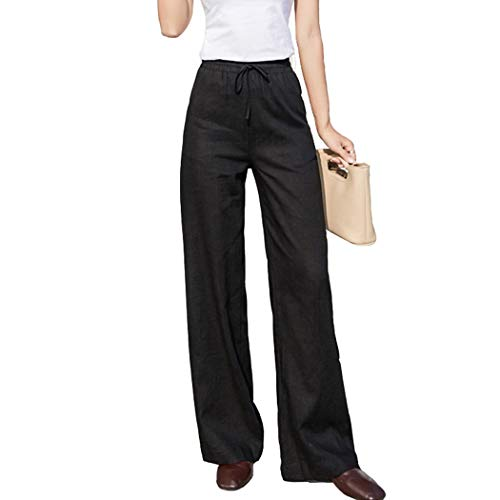 Fendou Women Linen Pants Casual Loose Straight Leg Elastic Waist Drawstring Trouser with Pockets Black ()