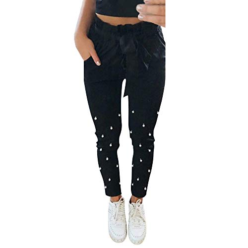 iYYVV Women Elastic Waist Black Mosaic Pearl Pockets Sashes Ankle Pants Trousers -