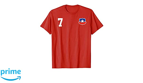 Amazon.com: Camiseta Futbol Chile Soccer La Roja T-Shirt number 7 home: Clothing