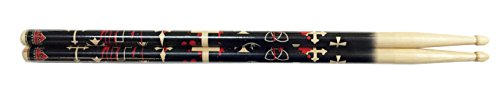 Hot sticks American Classic Hickory 5A Wood Tip Drumsticks in Blood cross Pattern Beige