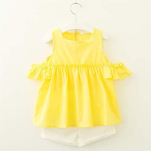 2019 Summer Girls' Wear Cute Flower Sleeve Children's Clothing Set 2 Pieces 4T Yellow -