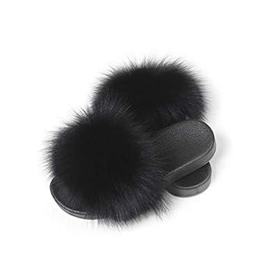 Fur Story Women's Fox Fur Slides Furry Slide Sandal for Outdoor Fur Slippers