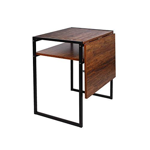 Folding Dining Table, Compact Drop Leaf Table for Small Spaces, Multifunction Expandable Table, Corner Laptop Desk Workstation (Dark Brown)