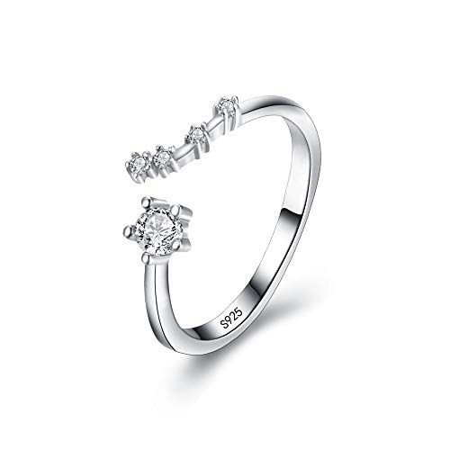BriLove 925 Sterling Silver CZ Statement Ring for Women -