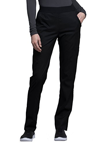 Cherokee Luxe CK040 Contemporary Fit Natural Rise Tapered Leg Pant Black S Petite (Nursing Pants Uniform Elastic Waist)