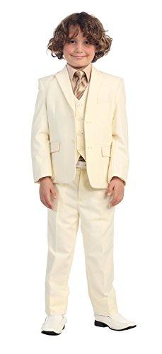5 Pc Little Boys Off White Suit, Vest, Pants, Khaki Shirt & Stripe Tie 2T
