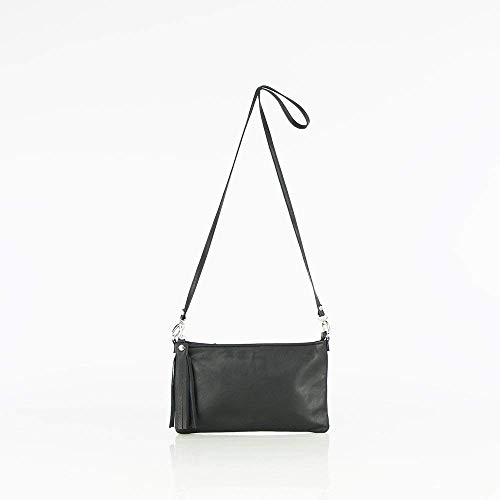 Black Leather Bag - Small leather cross body bag - Black leather clutch - Small cross body bag women - Leather wristlet purse- ' Clatsi