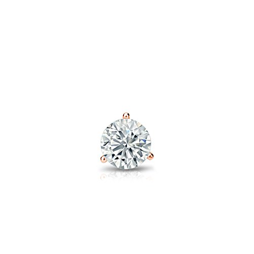 14k Rose Gold 3-Prong Martini Round Diamond SINGLE Stud Earring (0.08ct, Good, I2-I3) by Diamond Wish