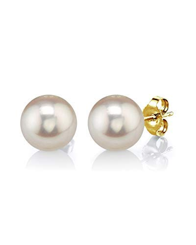 THE PEARL SOURCE 14K Gold 8-9mm Round White Freshwater Cultured Pearl Stud Earrings for Women -