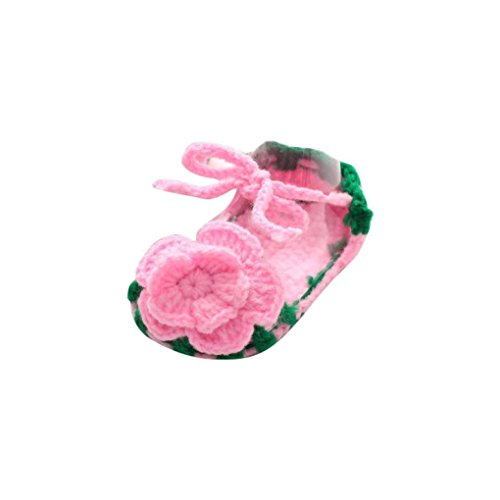 - Roses Infant Shoes,Kimanli Crib Crochet Casual Baby Girls Handmade Knit Sock (Green pink)