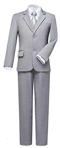 Visaccy Suits for Boys,Slim Fit Boys Suit Outfit for Toddler Kids Bathing Gray Size 14