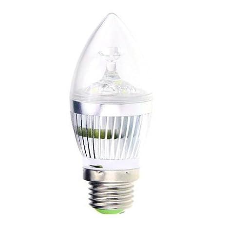 Kit 10 Bombillas LED Oliva con dispersore de acero color Silver con casquillo E27 de 3 ...