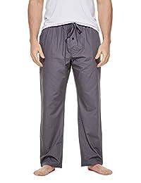 CYZ Men's 100% Cotton Poplin Pajama Lounge Sleep Pant-Charcoal-M