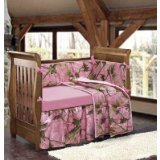 HiEnd Accents Realtree Oak Camo Crib Set, Pink