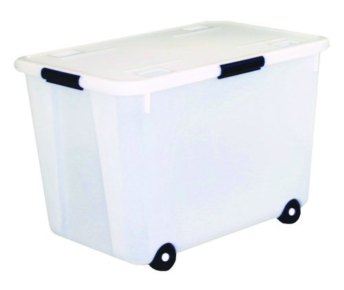 Advantus Rolling Storage Box with Snap Lid, 15-Gallon Size, Clear (34009) (Storage Tubs On Sale)