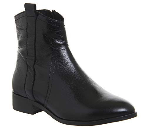 Boots Black Flat Leather Western Office Amuse qxFSTT
