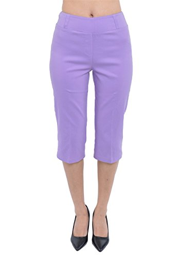 PattyCandy Womens Lavender Ease In Casual Comfort Capri Pants, Lavender - 2XL
