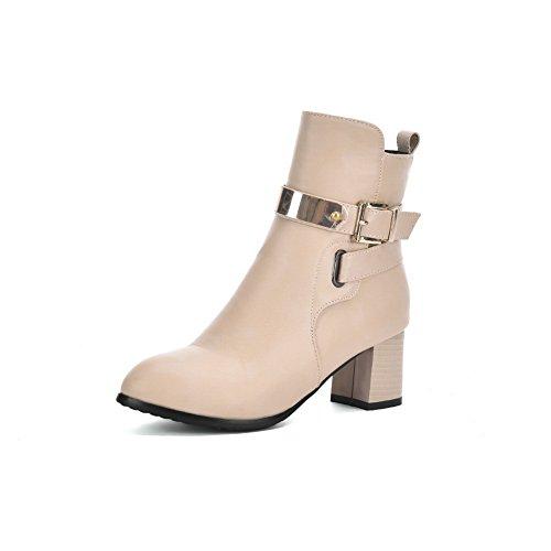 Kitten Buckle Heels Boots Imitated Formal Girls Beige Leather AdeeSu 1vxwqUEn
