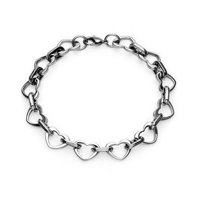 316L Stainless Steel High Polish Finish Multi-Link Heart Bracelet