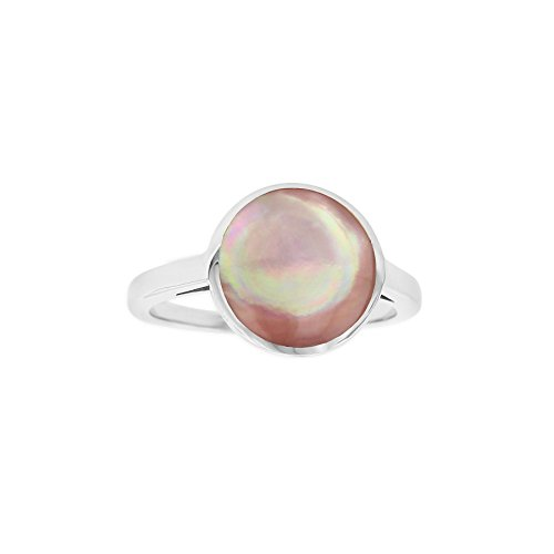 Kabana Sterling Silver Pink Mother of Pearl Round Ring