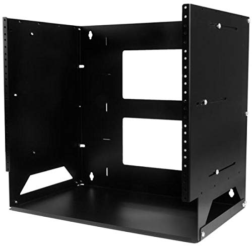 - StarTech.com 8U Wall-Mount Server Rack with Built-in Shelf - Solid Steel - Adjustable Depth 12in to 18in