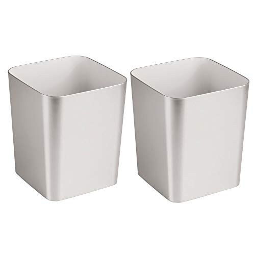 - mDesign Square Shatter-Resistant Plastic Small Trash Can Wastebasket, Garbage Container Bin for Bathrooms, Powder Rooms, Kitchens, Home Offices - 2 Pack - Brushed