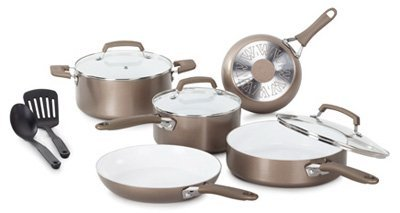 T-Fal/Wearever C944SA64 Pure Living Cookware Set, Ceramic Interior, 10-Pc. - Quantity 1