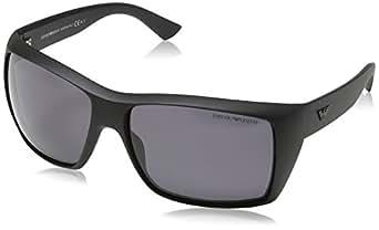Emporio Armani - Gafas de sol Wayfarer EA 9797/S para hombre, Dark Grey Frame / Gradient Grey