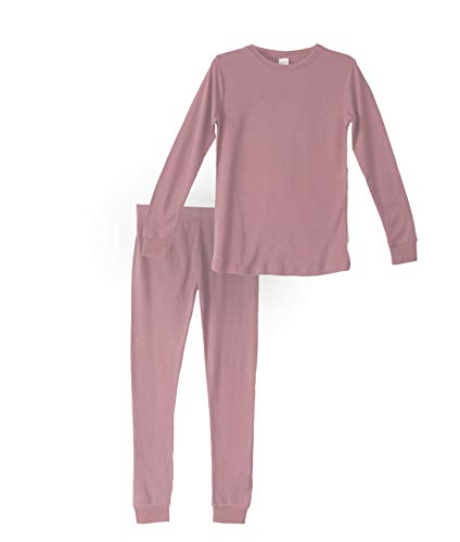 Habit Rags Best Organic Bamboo Cotton Long John Thermal Pajama Set for Big Boys, Girls, Toddlers and Kids Size 2 to 16 (7, Ash Rose)