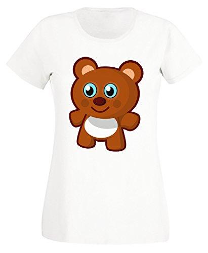 Ours Blanc Coton Femme T-shirt Col Ras Du Cou Manches Courtes White Women's T-shirt