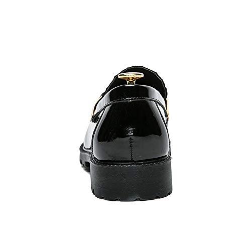 Oxford Cabeza Charol Ropa Dingguanghe Playa Para Cómodos Decorativa Formal Vestir Metal shoes Redonda Antideslizantes De Gold Hebilla Black Zapatos Hombre qtR5vBxR