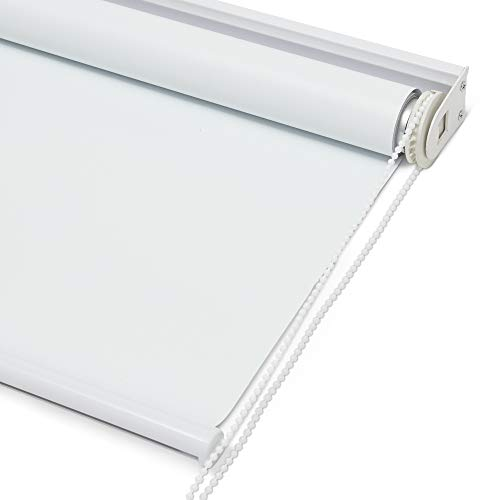 Kyle & Bryce Blackout Roller Shade – White – Smooth Mechanics – Temperature Controlling Blinds – Temporary Darkening – Classic Sleek Style – Multiple Sizes – Window Cover (White, 23 x 72 inch)
