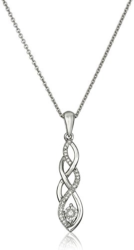 Sterling Silver Diamond Twist Pendant Necklace and Earrings Box Set (1/5 cttw), 18""