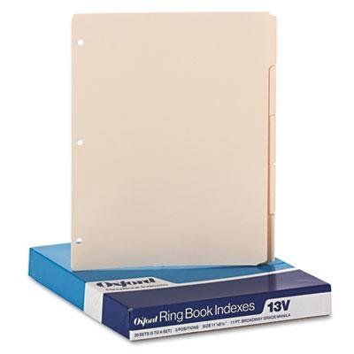 Oxford 13V Three-Hole Punched Index for Binder- 1/5 Cut- Fiv