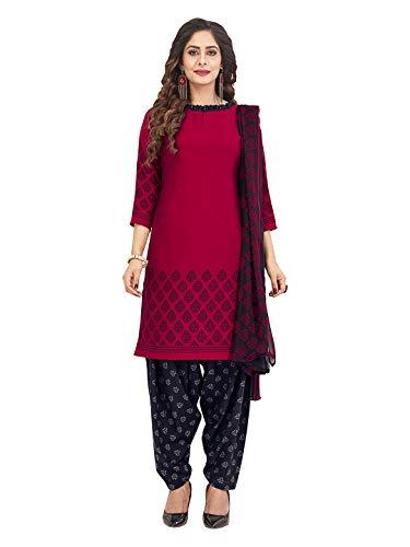 Jevi Prints Women's Faux Crepe Block Print Dress Material (Varsha-2954_Red & Black_Free Size)