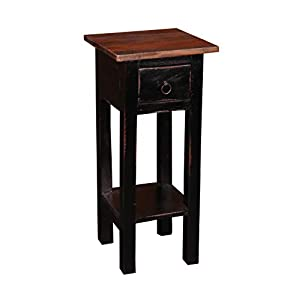 Sunset Trading Shabby Chic Cottage Side Table, Small One Drawer, Black, Brown