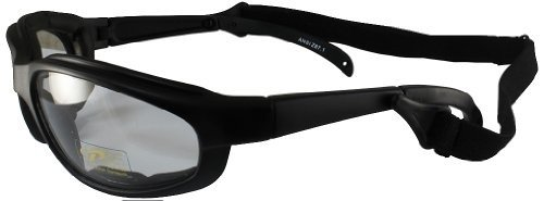 Pacific Coast Freedom Padded Riding Sunglasses with Detachable Strap (Black Frame/Clear Lens) by Pacific Coast