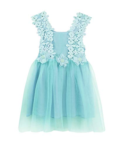 - LYXIOF Baby Girls Tutu Dress Toddler Sleeveless Flower Crochet Lace Straps Tulle Sundress Blue 130CM