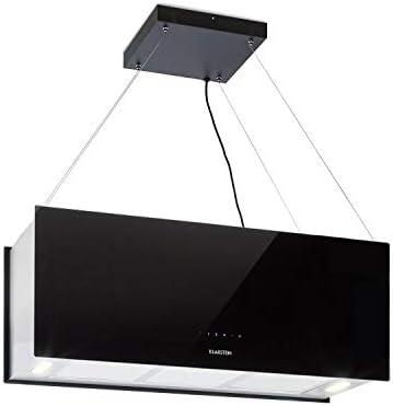 Klarstein Kronleuchter - Campana extractora en isla, Flujo aire hasta 600 m³/h, Iluminación LED, Eficiencia energética Clase A, 3 niveles, Filtro grasa, Control táctil, 90 x 35 x 35 cm, Negro: Amazon.es: Hogar