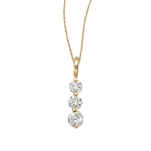 1.00 Carat (ctw) 14k Yellow Gold Round Diamond Women's Three-stone Drop Pendant with 18